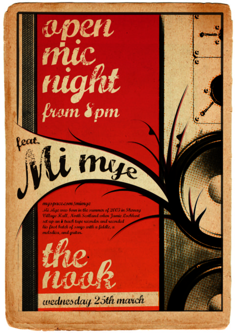 A3 Poster - The Nook Open Mic, feat. Mi Mye