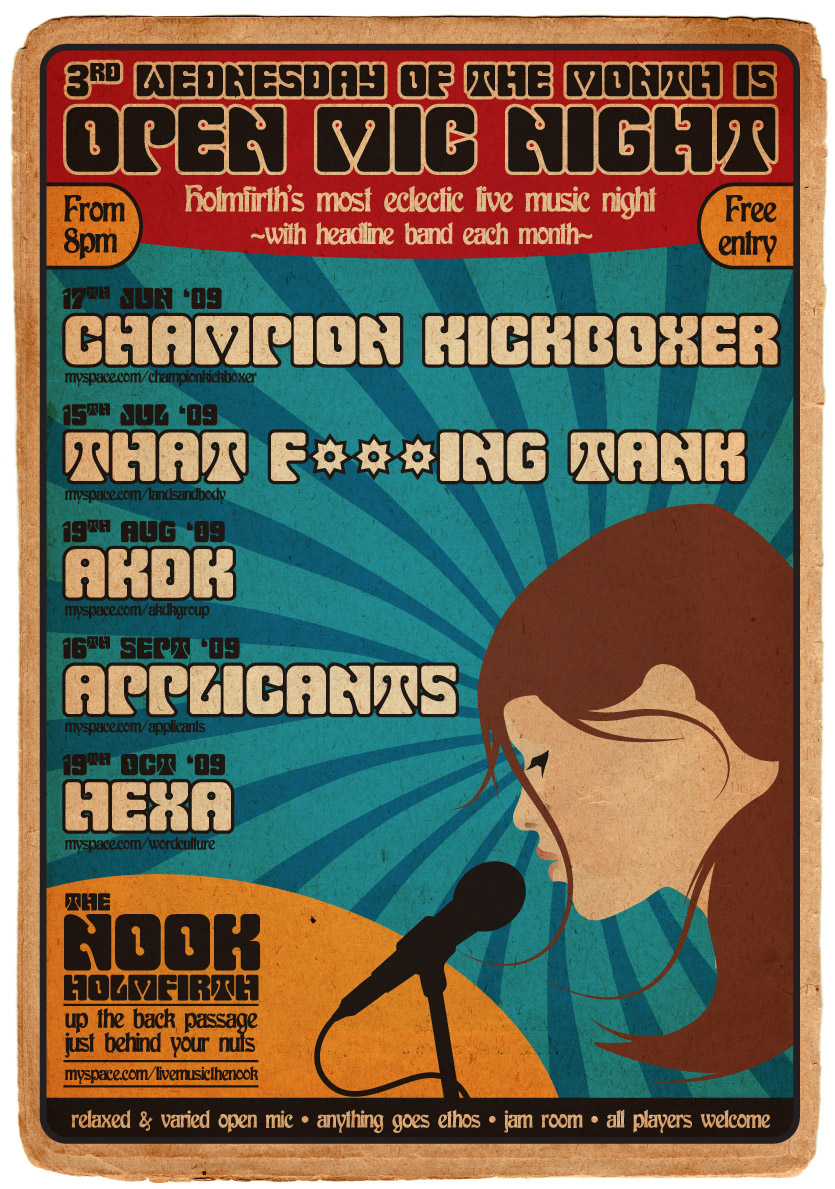 A3 Poster - The Nook Open Mic, June - October