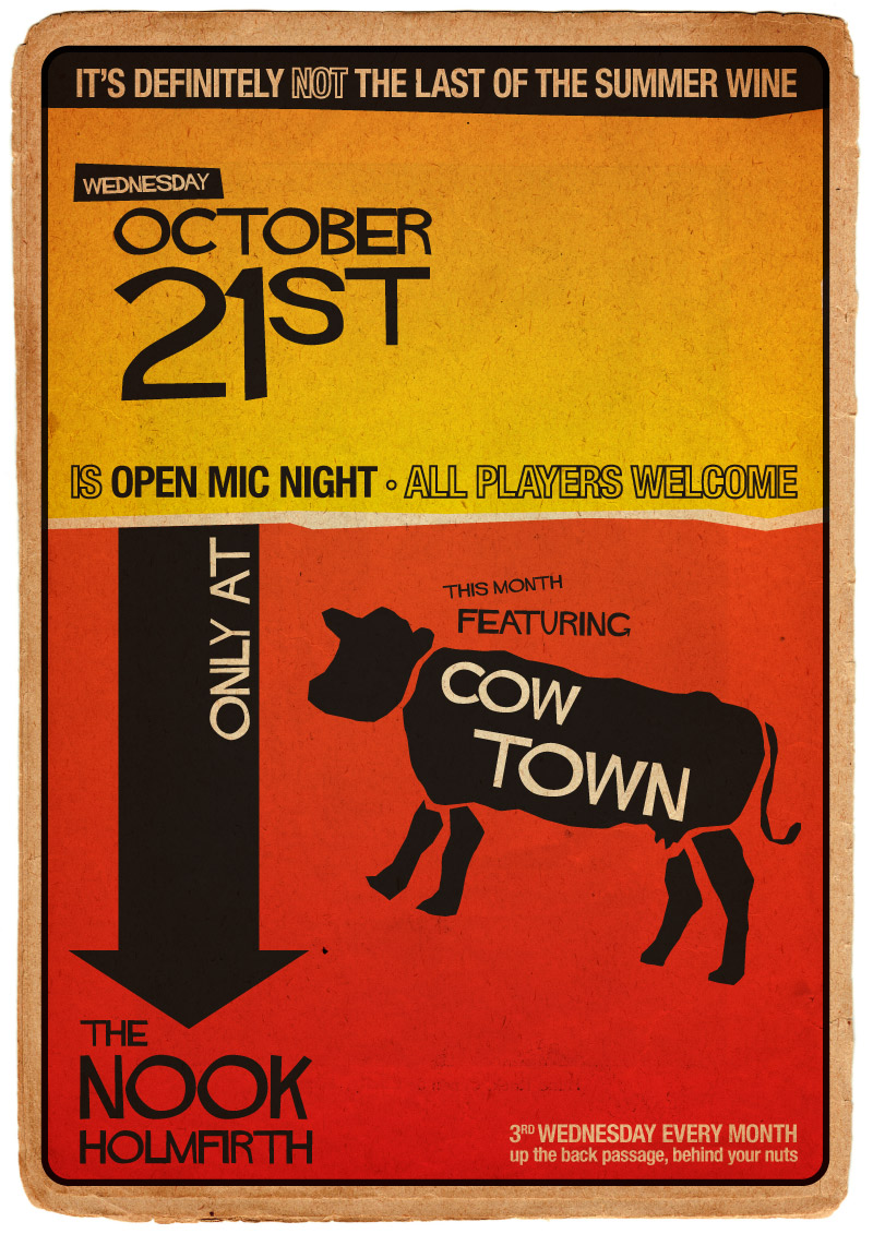 A3 Poster - The Nook Open Mic, feat. Cow Town
