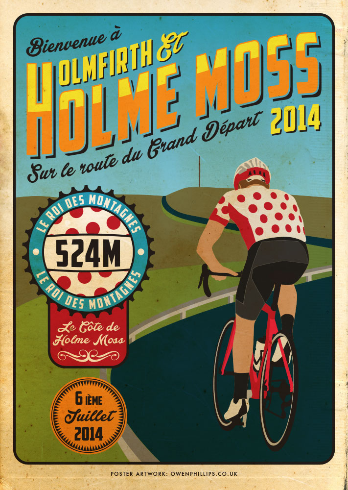 holmfirth holme moss vintage inspired cycling poster