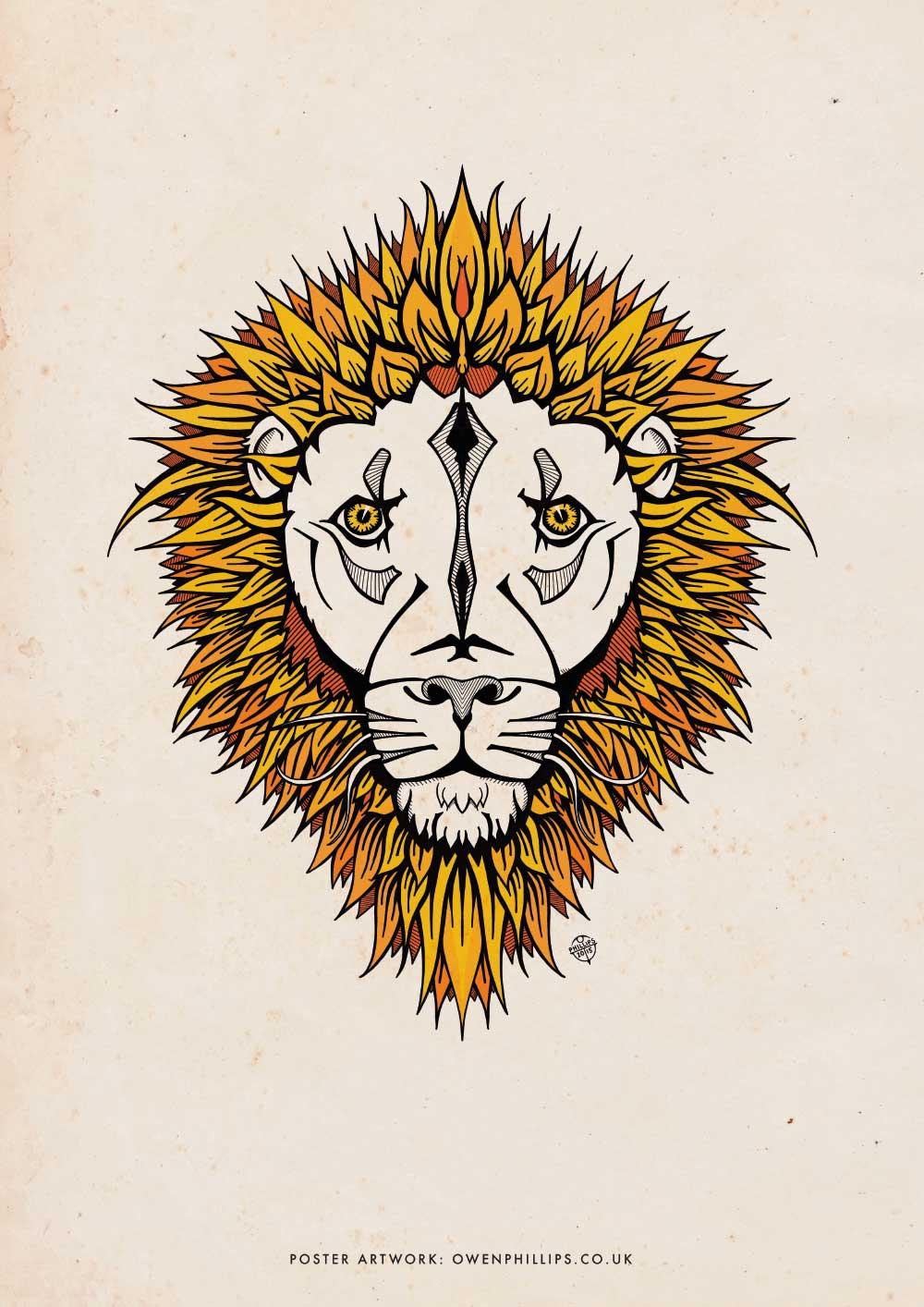 illustrated lion poster owen phillips creative design